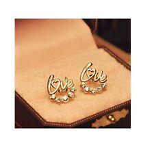 GOLD LOVE HEART RHINESTONE Earrings Ear Stud Womens Ladies Girls Gift UK