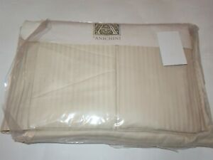 Anichini Itlay 4P Percale Tone on Tone Stripe Cream Ivory sheet set NEW RARE