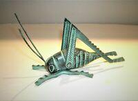 "Vtg Cast Brass Grasshopper Cricket for Fireplace Hearth 7"" long"