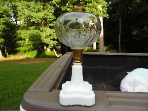 Antique Whale Oil / Kerosene Lamp Stand  / EAPG Font / MG Base / Eyeballs