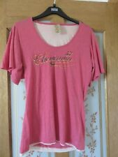 Ladies Chevignon scoop neck, short sleeved salmon pink tshirt with motif size XL