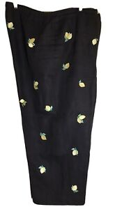 TALBOTS SZ 20W  100% LINEN CROPPED PANTS EMBROIDERED LEMONS ON BLACK FABRIC ZIP