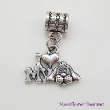 Tibetan Silver I Love My Dog Charm fit European Bracelet