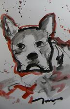 JOSE TRUJILLO ORIGINAL DOG PUG PUPPY ACRYLIC ON PAPER PAINTING AMERICAN ART