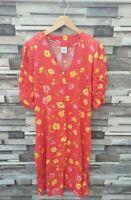 VTG RETRO R R DESIGN FLORAL BRIGHT BOLD BUTTON 80'S FLOWY MAXI TEA DRESS UK S