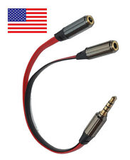 Gold 3.5mm Headphone Splitter Jack Male to 2 Dual Female Cable lead audio Y