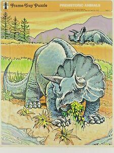 Vintage Rainbow Works Prehistoric Animals Triceratops Dinosaurs Tray Puzzle 1975