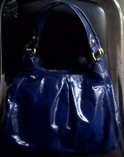 AUTH COACH MAGGIE PATENT LEATHER LARGE HOBO BAG PURSE 13900 COBALT $398 - RARE