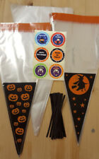 HALLOWEEN CONE BAGS CELLOPHANE PARTY SWEET CELLO STICKERS BLACK TWIST TIES