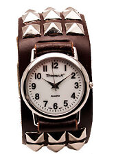 PRIMEMAX: BROWN HEAVY LEATHER BIKER  METAL STUDS STYLE BAND  CASE ANALOG WATCH