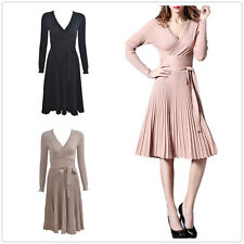 New Women Long Sleeve Knitted Pleated V Neck Low Cut  Party Evening Skirts Dress