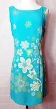 NC Love Dress Sleeveless Shift Turquoise Blue Flower Power size Medium Vintage