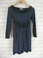 MAX & CO. Dress Sz S Navy Blue, Black Trim  Jersey Dress