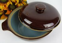 DENBY Homestead 4 Pint Lidded Casserole Dish ~ Brown & Pale Blue Stoneware ~Mint