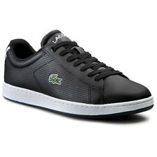 """MSRP $90 Mens Authentic Lacoste """"Carnaby Evo NTE"""" Sneakers Black/Blue SZ 7"""