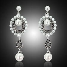 New Fashion Women Rhinestone Pearl Long Wedding Bridal Party Drop Stud Earrings