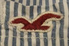 Hollister Women's Medium Blue White Stripe Button Down Oxford Medium Shirt Top