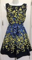 Red Herring 50's Black Blue Green Floral 'Fit N Flare' Tie Waist Dress 12/14
