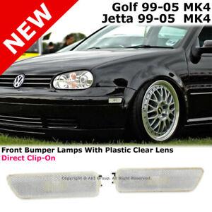 Volkswagen Golf Jetta 99-05 MK4 Front Bumper Side Light Lamp Clear Lens Pair