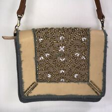 Anthropologie Miss Albright Blue Tan Gilt Trails Shoulder Bag purse