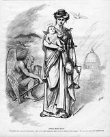 JUSTICE BRINGS PEACE BY THOMAS NAST SWORD 1877 BABY FATHER TIME SYTHE HOURGLASS