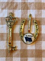 Lot of 2 vintage thermometer - Disneyland Cinderella's Castle Key gold + Alaska