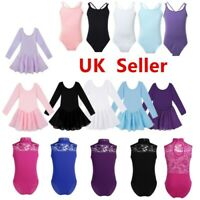 UK Kids Girls Ballet Dance Tutu Gym Leotards Dress Ballerina Dancewear Costumes