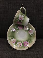 RC Bavaria Small Tea Cup and Saucer Pink Floral Leaves Gold Trim Handpainted