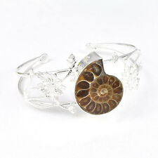 Flower Shaped Unique Genuine Ammonite Fossil Gemstone Silver Bangle Bracelet