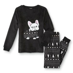 Joe Boxer Juniors' 2-Pc Fleece Black Pajama/Sleepwear Top & Pants Set Dog Puppy