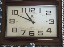 POWER Rectangle Wall Clock Wood Grain Acrylic No Ticking Quiet Smooth Sweep New!