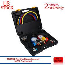 4 Way AC Diagnostic Manifold Gauge Set R410A R134A R22 Hoses Coupler Adapters
