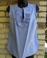 J. CREW Blue Chambray Ruffle Cottagecore Top Women's Size 2 Shirt Prairie Blouse