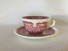 Mason's VISTA Pink Red Transferware CUP & SAUCER #2 England Free U.S. Shipping