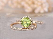 1.64 Ct Round Cut Sim Diamond Engagement Wedding Ring Set 14K Rose Gold Finish