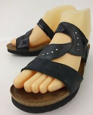 Naot Wos Shoes Sandals EU 38 US 7 Narrow Black Leather Slip-on Wedge Heels 521