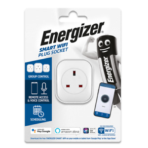 ENERGIZER SMART WIFI PLUG UK 3 PIN with Remote Access & Voice Control Scheduling