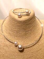 Womens Statement Silver Beaded Faux Pearl Choker Necklace Bracelet