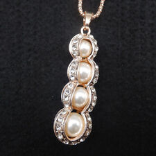 Rose Gold Plated Faux Pearls Crystal Peanut Pendant Long Chain Necklace