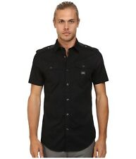 Diesel S-Koir-Short Shirt Slim Fit Stretch Cotton Black L $98