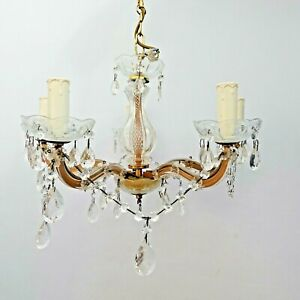 Vintage Maria Theresa Style Ornate Chandelier 5 Candle Light Lamp Made in Italy