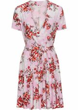 Kleid Gr. 40/42 Rosa Geblümt Cocktailkleid Kurzes Freizeitkleid Mini-Dress Neu