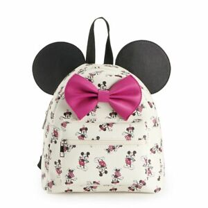 Disney's Minnie and Mickey Mouse Print Mini Backpack with Bow