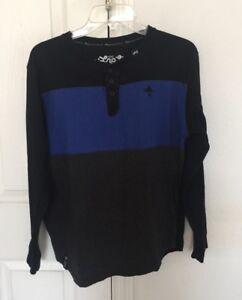 Lrg Boys Long Sleeve Striped Blue/ Black / Gray Shirt Size XL Kids.