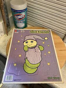 Vintage 1985 Hasbro Glo Worm Glo Friends 25 Piece Puzzle Gloworm MB 3 To 7