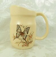 Treasure Craft Pottery Stoneware Small Pitcher Butterflies Yellow Speckled 6-1/4