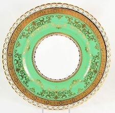 FABULOUS SET 8 MINTON CHINA AS PA2084 DINNER PLATES GREEN RAISED GOLD ENCRUSTED