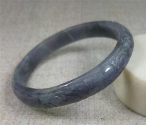 Handmade 63mm Natural Violet Jadeite Carving Jade Bracelet