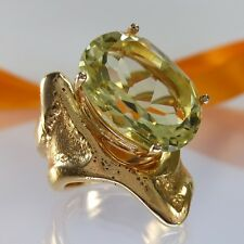 A668 Unikat Ring Lemon Quartz 925 Silber Schmuck Rosegold vergo Gr.58 Handarbeit