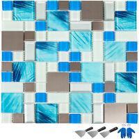Mosaic Tile Glass Backsplash Tile Kitchen Wall Tile Sea Blue 6 pcs 12x12 inch
